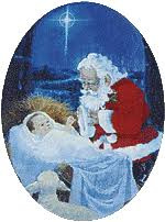 santa kneeling at the manger the pastor