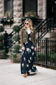 how to wear a floral maxi in the fall with layers u2014 bows u0026 sequins