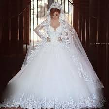 Wedding Dresses Ball Gown Aliexpress Com Buy Luxury Vintage Long Sleeves Lace Wedding