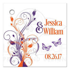 Wedding Gift Tags Personalized Wedding Favor Tag Purple Orange White Floral With