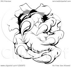 clipart of black and white monster claw breaking through a wall
