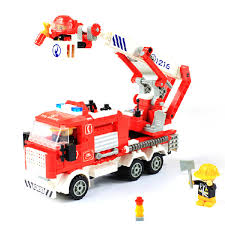 free shipping 290 pcs puzzle factory speedy fire truck interactive