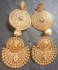 gold jhumka earrings 2 pairs antique gold style different look indian jhumka earrings