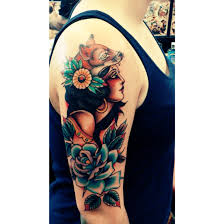 traditional gypsy lady tattoo with fox hat my new tattoo done
