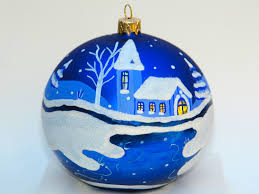 hand painted christmas ornament large glass ball 16 90 via etsy