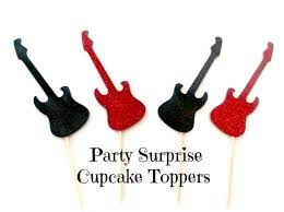 Rock And Roll Party Decorations Guitar Cupcake Toppers Red And Black Glitter Guitar Cake And