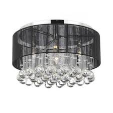 Chandelier With Black Shade And Crystal Drops Flush Mount Ceiling Lights For Less Overstock Com
