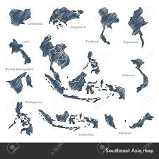South East Asia Map Asian Economic Community Association Of Southeast Asia Map Doodle