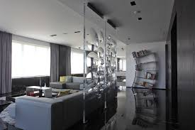 translucent frameless glass room partitions for grey living room