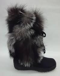 womens fur boots size 9 womens gigi fur boots gigi silver fox size 9 ebay