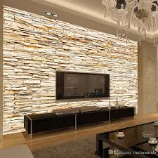 non woven fashion 3d stone bricks wallpaper mural for living room