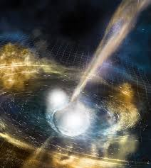 A neutron star collision ripples in space time and the origins