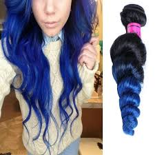 blue hair extensions black blue ombre hair wave ombre human hair
