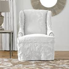 matelasse damask wing chair slipcover cover white sure fit target