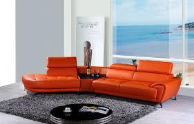 Modern Leather Sectional Sofas Casa Raizel Modern Orange Leather Sectional Sofa W Left Facing Chaise