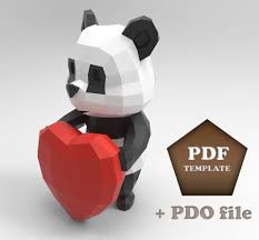 Paperpanda Cartoon Panda Papercraft Low Poly Panda Papercraft Panda