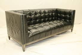 7 cool black leather tufted sofa custom stitching