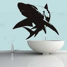 shark shadowed predator under sea wall stickers bathroom decor