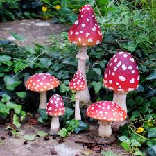 set of six coloured resin or toadstool garden ornaments