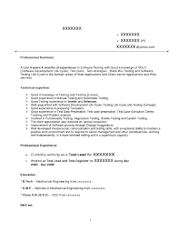 Sle Resume For Mechanical Engineer Sle Resume Software Tester Sle Resume For Software Testing 100