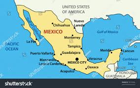 vector illustration map united mexican states stock vector