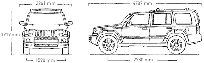 jeep front drawing 2008 jeep commander suv blueprints free outlines