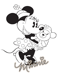 classic minnie mouse with teddy bear coloring page free clip