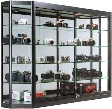 tempered glass shelves for kitchen cabinets displays2go wall hanging display cabinets for retail stores 4 tempered glass shelves aluminum frame black wc6012ledb walmart