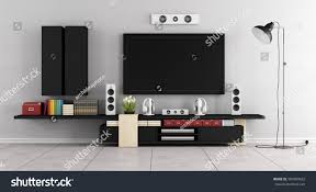 modern living tv modern living room room tvwall unit stock illustration 369489332