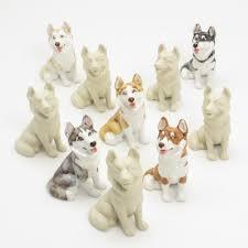 10 siberian husky ceramic unpainted diy ornament figurine handmade