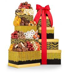 golden gift chocolate gift tower