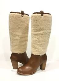 ugg boots womens heels ugg exposed fur boots brown leather high heel knee high