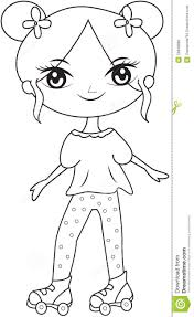 wearing roller skate shoes coloring page stock illustration