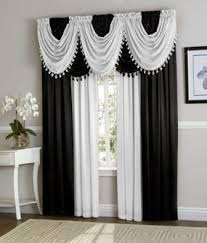 Black And White Window Curtains Black White Hyatt Curtain Set Moshells