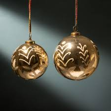 buy antiqued gold glass baubles decorations