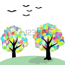 multicolored trees and birds royalty free cliparts