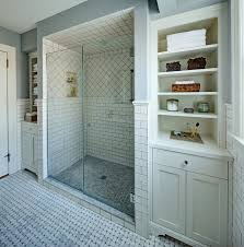 Large Shower Room Screened By Glass Shower Screen At Traditional - Traditional bathroom design