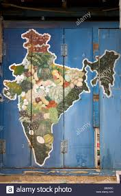 India On A Map A Map Of India Is Painted Onto The Blue Shutters Of A Fruit And