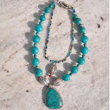 stone turquoise necklace images Teal turquoise stone necklace 100 authentic guatemalan handcrafts jpg