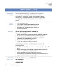 Sample Resume Objectives For Housekeeping by Janitor Sample Resume Splixioo