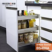 pull out basket organizer stainless steel kitchen cabinet pull out basket organizer stainless steel kitchen cabinet condiment sliding basket two tiers spice bottles rack mixzone bs400a in storage baskets from home