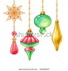 watercolor hand painted elements hanging christmas stock