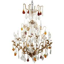 Child Chandelier Crystal 12 Light Chandelier With Fruit Shape And Teardrop Crystals