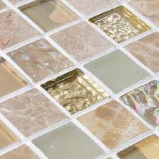 Crystal Glass Mirror Tile Backsplash Stone  Glass Blend Mosaic - Stone glass mosaic tile backsplash