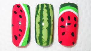 watermelon nail art 3 very easy designs youtube
