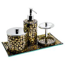 Mosaic Bathroom Accessories by Mosaic Glass Bathroom Set Set Of Four Pieces Be Fabulous