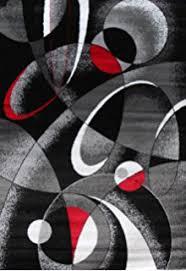 Red White And Black Rug Amazon Com 2305 Gray Black Red White Swirls 7 U002710 X 10 U00276 Modern