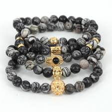 mens bracelet with skull images 2017 natural stone beads skull bracelet for men jewelry spider web jpg