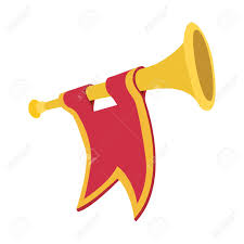 Red Flags Trumpet With Red Flag Cartoon Icon On A White Background Royalty