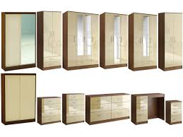 walnut bedroom furniture lynx walnut cream gloss bedroom furniture wardrobe chest by birlea